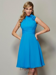 A-Line/Princess High Neck Pleats Knee-Length Chiffon Bridesmaid Dress