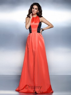 A-Line/Princess High Neck Satin Long Dress