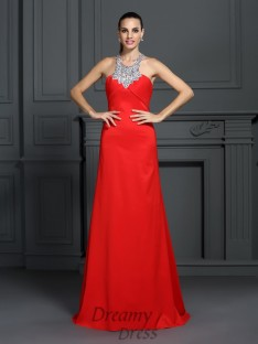 A-Line/Princess High Neck Sweep/Brush Train Elastic Woven Satin Dress