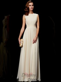 A-Line/Princess Jewel Chiffon Floor-Length Dress