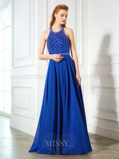 A-Line/Princess Jewel Sleeveless Chiffon Sweep/Brush Train Dress
