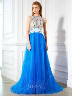 A-Line/Princess Jewel Sleeveless Floor-Length Net Dress