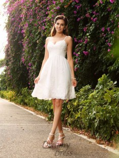 A-Line/Princess Knee-Length Spaghetti Wedding Dress