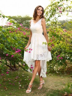 A-Line/Princess Lace Asymmetrical Bridesmaid Dress