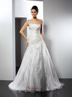 A-Line/Princess One-Shoulder Chapel Train Satin Wedding Dress