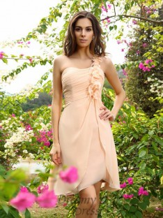 A-Line/Princess One-Shoulder Chiffon Knee-Length Bridesmaid Dress