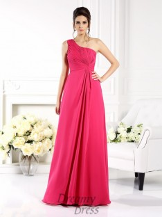 31be0d9660d A-Line Princess One-Shoulder Chiffon Long Dress
