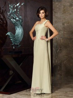 A-Line/Princess One-Shoulder Chiffon Long Dress