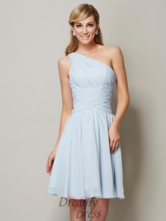 A-Line/Princess One-Shoulder Ruched Short/Mini Chiffon Bridesmaid Dress