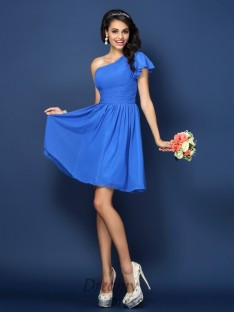 A-Line/Princess One-Shoulder Short/Mini Chiffon Bridesmaid Dress