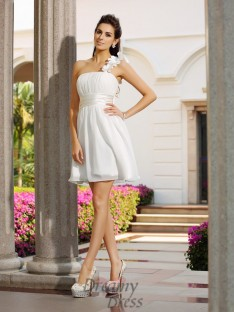 A-Line/Princess One-Shoulder Short/Mini Chiffon Dress