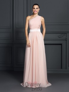 A-Line/Princess One-Shoulder Sweep/Brush Train Chiffon Dress