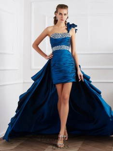 A-Line/Princess One-Shoulder Taffeta Asymmetrical Dress