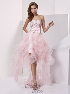 A-line/Princess Organza Strapless Asymmetrical Dress