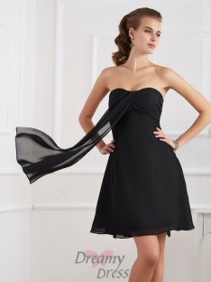 A-Line/Princess Pleats Strapless Chiffon Short/Mini Dress