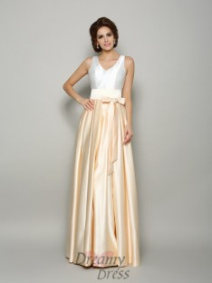 A-Line/Princess Satin V-neck Floor-Length Dress