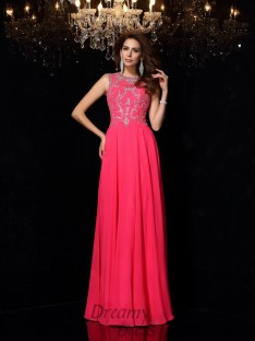 A-Line/Princess Scoop Chiffon Floor-Length Dress