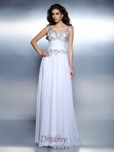A-Line/Princess Scoop Chiffon Long Dress
