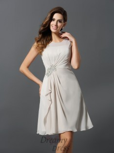 A-Line/Princess Scoop Chiffon Short/Mini Bridesmaid Dress
