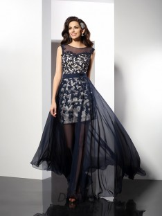 A-Line/Princess Scoop Elastic Woven Satin Long Dress