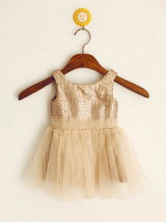 A-line/Princess Scoop Floor-length Flower Girl Dresses with Sequins