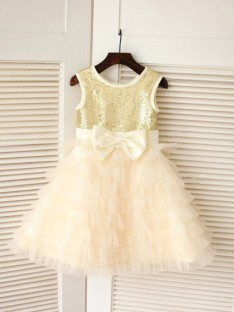 A-line/Princess Scoop Floor-length Tulle Flower Girl Dresses with Bowknot