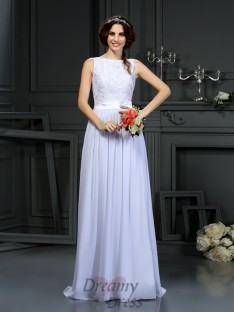 A-Line/Princess Scoop Lace Chiffon Floor-Length Wedding Dress