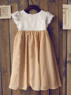 A-line/Princess Scoop Short Sleeves Floor-length Chiffon Flower Girl Dresses