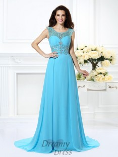 A-Line/Princess Scoop Sweep/Brush Train Chiffon Dress