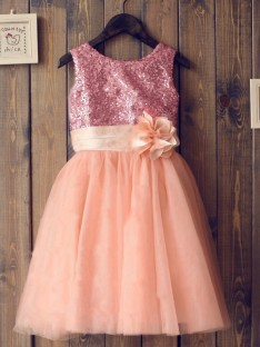 A-line/Princess Scoop Tulle Long Flower Girl Dresses with Sequins