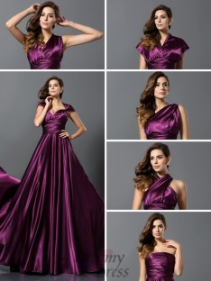 A-Line/Princess Silk like Satin Floor-Length Convertible Dress