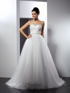 A-Line/Princess Spaghetti Straps Chapel Train Tulle Wedding Dress