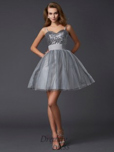 A-Line/Princess Spaghetti Straps Organza Short/Mini Dress