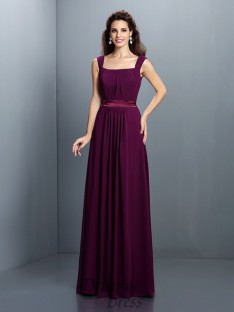 A-Line/Princess Square Chiffon Long Dress