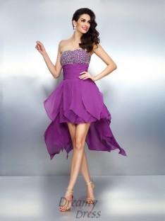 A-Line/Princess Strapless Asymmetrical Chiffon Dress