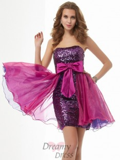 A-Line/Princess Strapless Bowknot Short/Mini Organza Dress