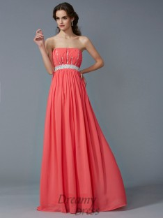 A-Line/Princess Strapless Chiffon Floor-Length Dress