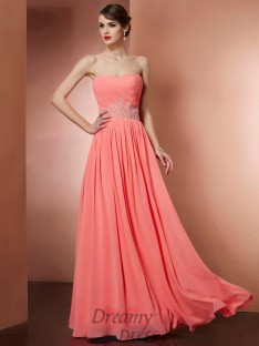 A-Line/Princess Strapless Chiffon Pleats Floor-Length Dress