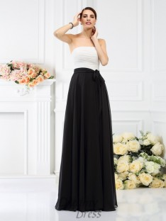A-Line/Princess Strapless Floor-Length Chiffon Bridesmaid Dress