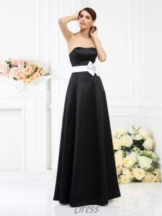 A-Line/Princess Strapless Floor-Length Satin Bridesmaid Dress