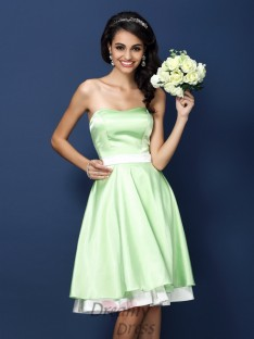 A-Line/Princess Strapless Knee-Length Elastic Woven Satin Bridesmaid Dress