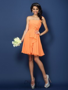 A-Line/Princess Strapless One-Shoulder Short/Mini Chiffon Bridesmaid Dress