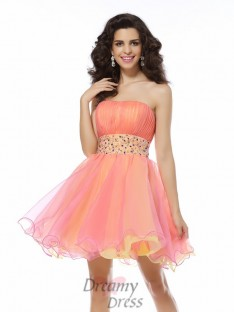 A-Line/Princess Strapless Organza Short/Mini Dress