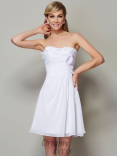 A-Line/Princess Strapless Pleats Chiffon Short/Mini Dress