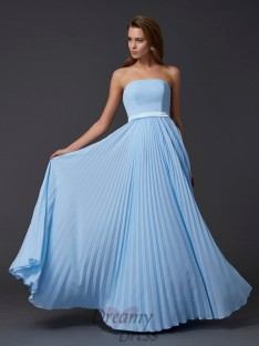 A-Line/Princess Strapless Ruched Chiffon Floor-Length Dress