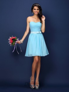 A-Line/Princess Strapless Short/Mini Chiffon Bridesmaid Dress