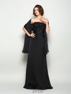 A-Line/Princess Strapless Sweep/Brush Train Chiffon Mother of the Bride Dress