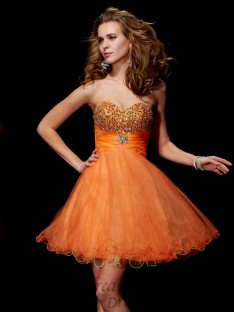 A-Line/Princess Strapless Sweetheart Organza Satin Short/Mini Dress