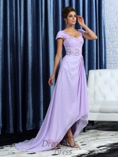 A-Line/Princess Straps Chiffon Asymmetrical Mother of the Bride Dress