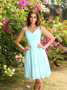 A-Line/Princess Straps Chiffon Knee-Length Bridesmaid Dress